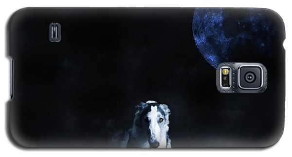 Galaxy S5 Case featuring the photograph Borzoi Wolf-hound, Hunting Under A Full Moon by Christian Lagereek