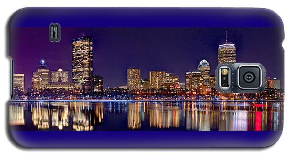 Galaxy S5 Case featuring the photograph Boston Back Bay Skyline At Night 2017 Color Panorama 1 To 3 Ratio by Jon Holiday