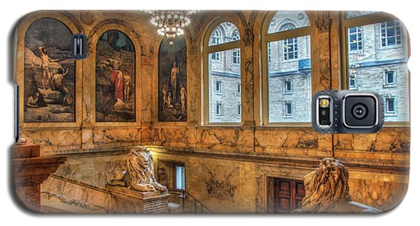 Galaxy S5 Case featuring the photograph Boston Public Library Architecture by Joann Vitali