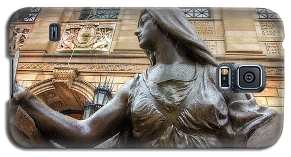 Galaxy S5 Case featuring the photograph Boston Public Library Lady Sculpture by Joann Vitali