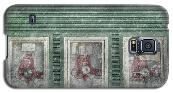 Galaxy S5 Case featuring the photograph Boston Red Sox Fenway Park Ticket Booth In Winter by Joann Vitali
