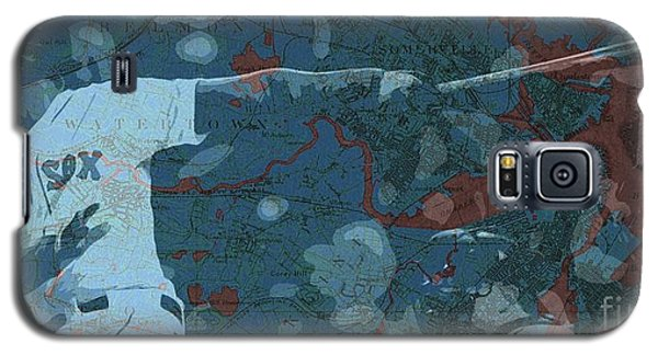 Sport Art Galaxy S5 Case - Boston Red Sox Player On Boston Harbor Map, Vintage Blue by Drawspots Illustrations