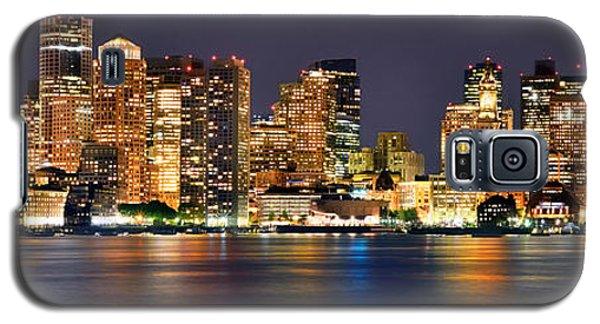 Boston Galaxy S5 Case - Boston Skyline At Night Panorama by Jon Holiday