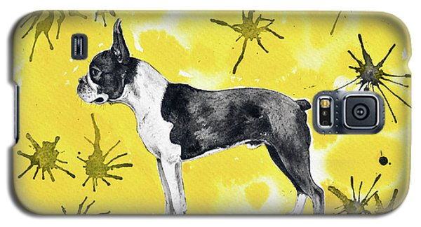 Galaxy S5 Case featuring the painting Boston Terrier On Yellow by Zaira Dzhaubaeva