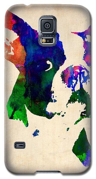 Boston Terrier Watercolor Galaxy S5 Case by Naxart Studio