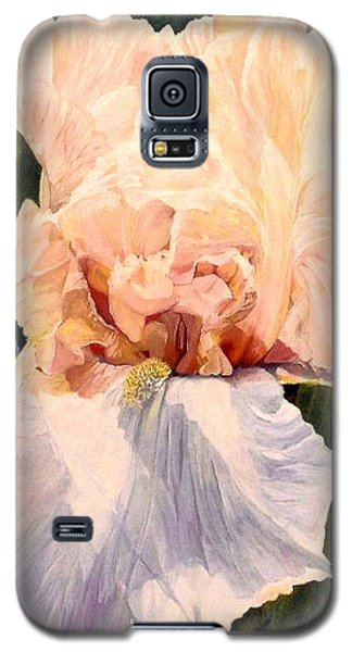 Galaxy S5 Case featuring the painting  Botanical Peach Iris by Laurie Rohner