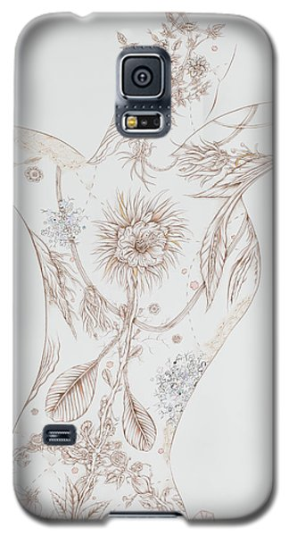 Galaxy S5 Case featuring the drawing Botanicalia Claire by Karen Robey