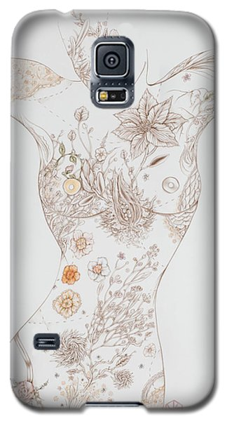 Galaxy S5 Case featuring the drawing Botanicalia Erica-sold by Karen Robey