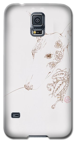 Galaxy S5 Case featuring the drawing Botanicalia Greyhound by Karen Robey