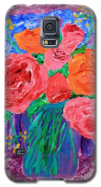 Bouquet Of English Roses In Mason Jar Painting Galaxy S5 Case