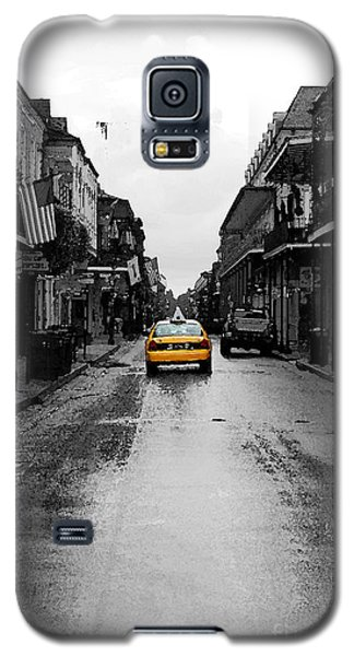 Bourbon Street Taxi French Quarter New Orleans Color Splash Black And White Watercolor Digital Art Galaxy S5 Case by Shawn O'Brien