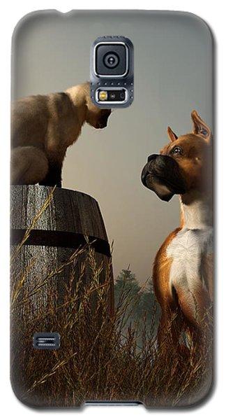 Boxer And Siamese Galaxy S5 Case by Daniel Eskridge