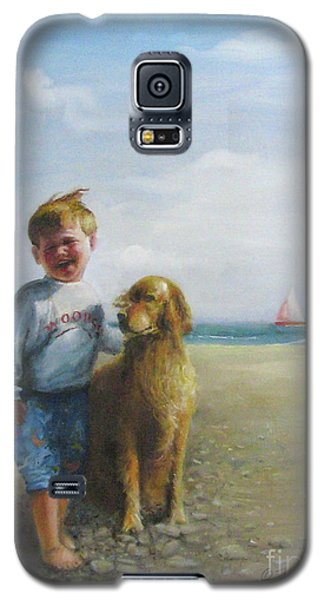 Galaxy S5 Case featuring the painting Boy And His Dog At The Beach by Oz Freedgood