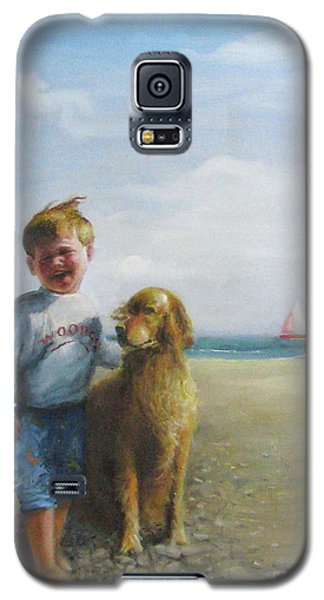 Boy And His Dog At The Beach Galaxy S5 Case