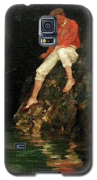 Galaxy S5 Case featuring the painting Boy Fishing On Rocks  by Henry Scott Tuke