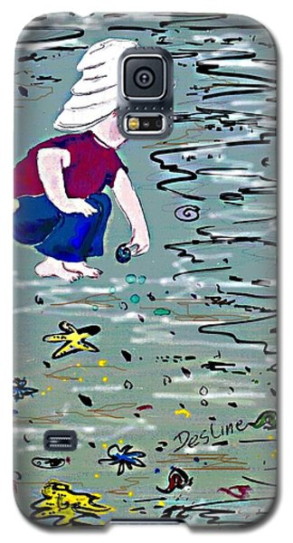 Galaxy S5 Case featuring the painting Boy On Beach by Desline Vitto