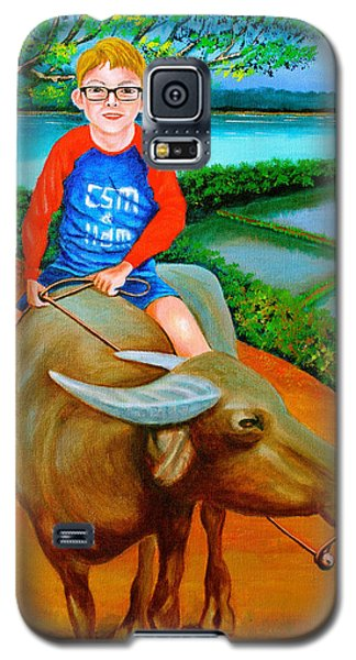 Boy Riding A Carabao Galaxy S5 Case