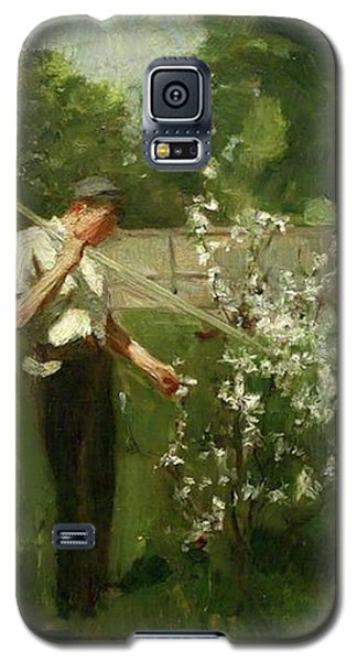 Galaxy S5 Case featuring the painting Boy With A Grass Rake by Henry Scott Tuke