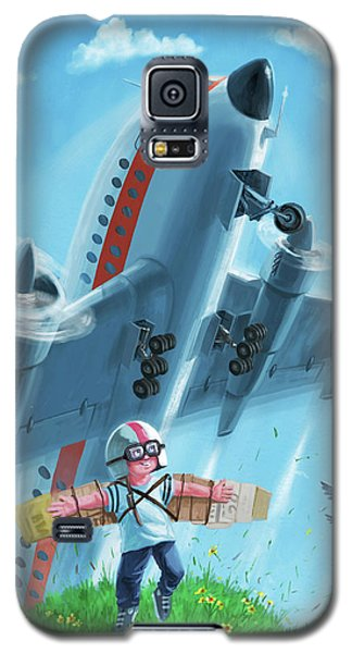 Boy With Airplane On Hilltop Galaxy S5 Case