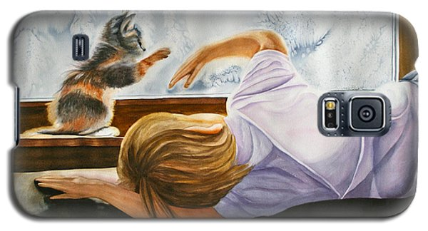 Galaxy S5 Case featuring the painting Boy With Kitten by Teresa Beyer