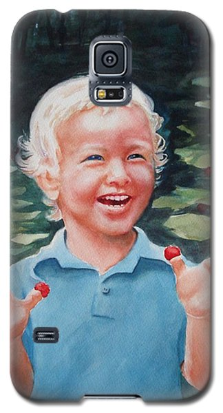 Galaxy S5 Case featuring the painting Boy With Raspberries by Marilyn Jacobson