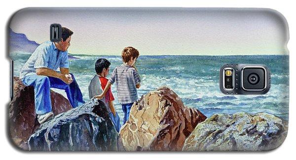 Galaxy S5 Case featuring the painting Boys And The Ocean by Irina Sztukowski