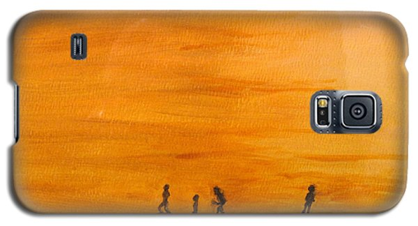 Galaxy S5 Case featuring the painting Boys At Sunset by Ian  MacDonald
