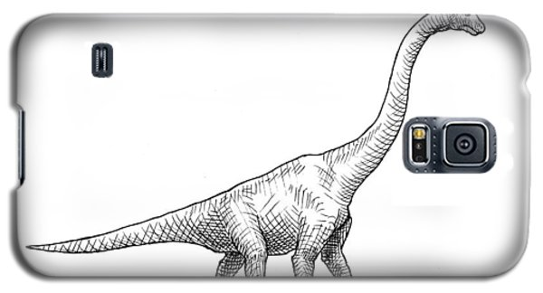 Galaxy S5 Case featuring the drawing Brachiosaurus Black And White Dinosaur Drawing  by Karen Whitworth