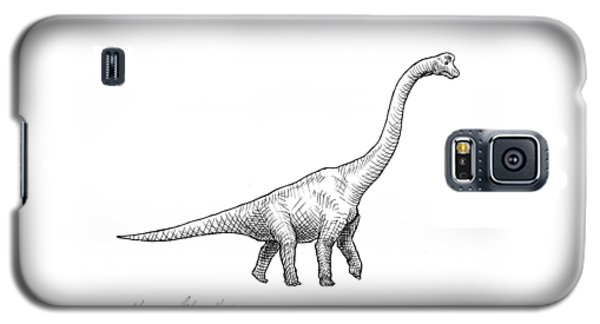 Brachiosaurus Black And White Dinosaur Drawing  Galaxy S5 Case