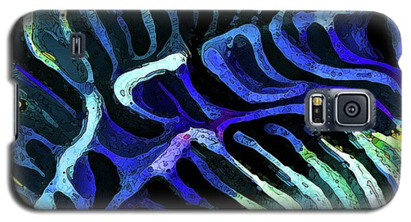 Brain Coral Abstract 3 In Blue Galaxy S5 Case