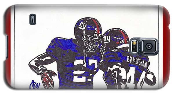Galaxy S5 Case featuring the drawing Brandon Jacobs And Ahmad Bradshaw by Jeremiah Colley
