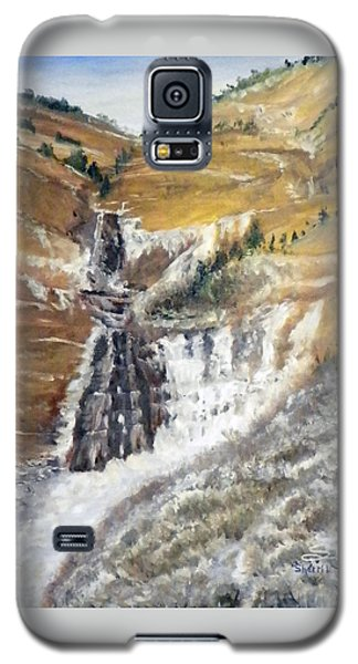 Galaxy S5 Case featuring the painting Bridal Veil Falls In Winter by Sherril Porter