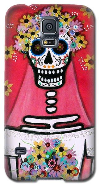 Galaxy S5 Case featuring the painting Bridezilla Dia De Los Muertos by Pristine Cartera Turkus