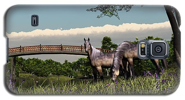 Bridge And Two Horses Galaxy S5 Case by Walter Colvin