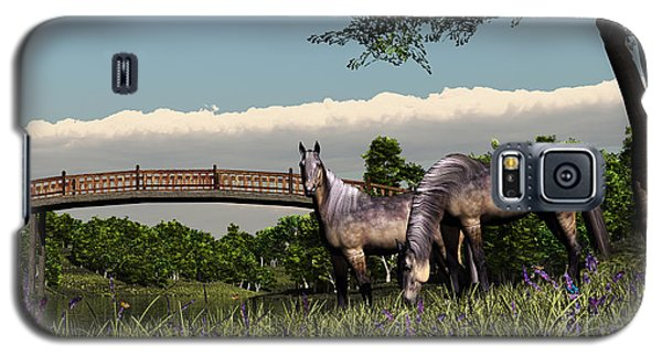 Galaxy S5 Case featuring the digital art Bridge And Two Horses by Walter Colvin