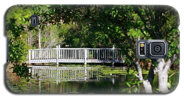 Galaxy S5 Case featuring the photograph Bridge On Lilly Pond by Lori Mellen-Pagliaro