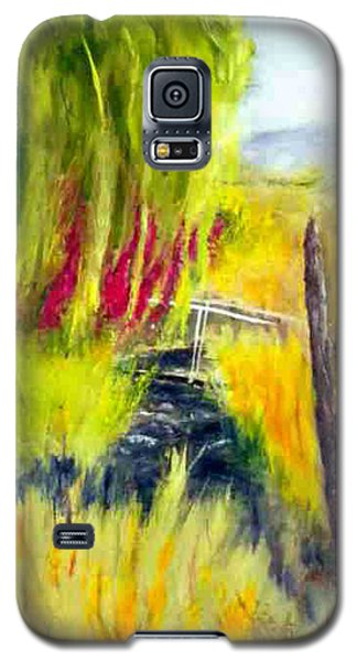 Galaxy S5 Case featuring the painting Bridge Over Small Stream by Sherril Porter