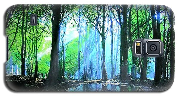Galaxy S5 Case featuring the painting Bright Light In Dark Wood by Marie-Line Vasseur