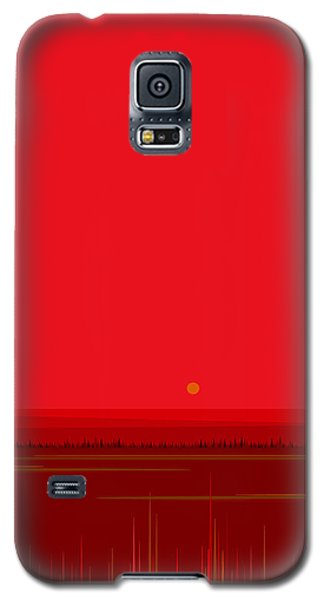Galaxy S5 Case featuring the digital art Bright Red Sunset Landscape by Val Arie