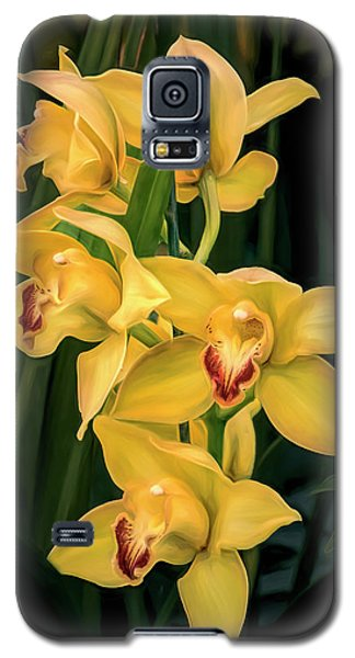 Orchid Galaxy S5 Case - Bright Yellow Orchids by Tom Mc Nemar