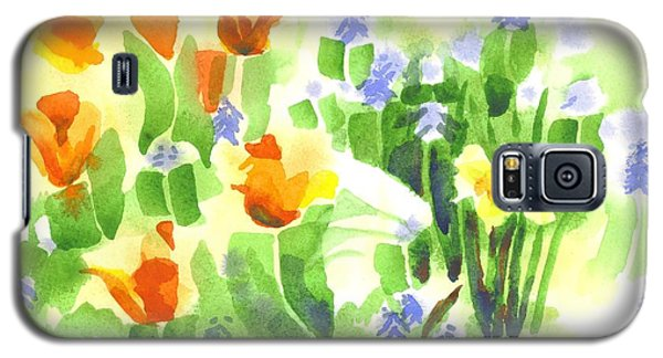 Galaxy S5 Case featuring the painting Brightly April Flowers by Kip DeVore