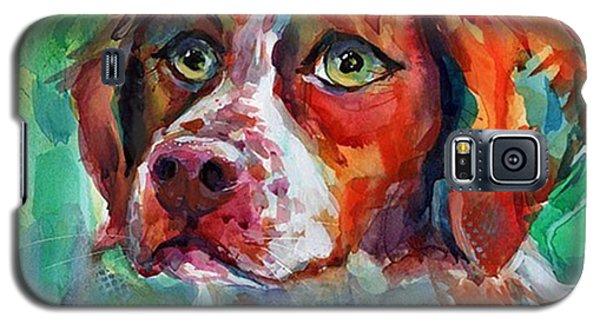 Animal Galaxy S5 Case - Brittany Spaniel Watercolor Portrait By by Svetlana Novikova