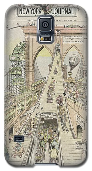 Galaxy S5 Case featuring the photograph Brooklyn Bridge Trolley Right Of Way Controversy 1897 by Daniel Hagerman
