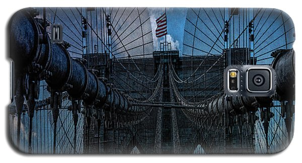 Galaxy S5 Case featuring the photograph Brooklyn Bridge Webs by Chris Lord