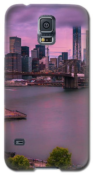 Galaxy S5 Case featuring the photograph Brooklyn Bridge World Trade Center In New York City by Ranjay Mitra