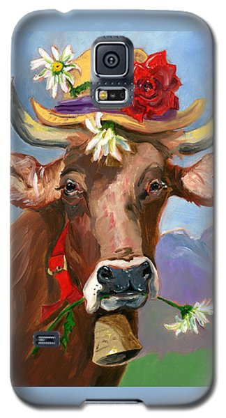 Galaxy S5 Case featuring the painting Brown Swiss In Summer Hat by Susan Thomas