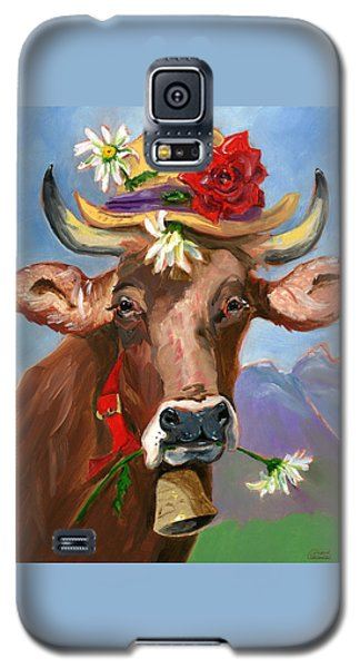 Brown Swiss In Summer Hat Galaxy S5 Case by Susan Thomas