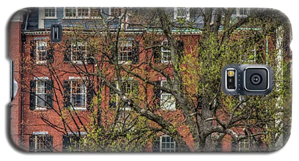 Galaxy S5 Case featuring the photograph Brownstone Panoramic - Beacon Street Boston by Joann Vitali
