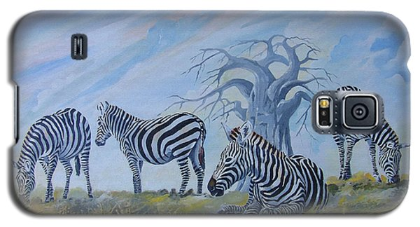 Galaxy S5 Case featuring the painting Browsing Zebras by Anthony Mwangi