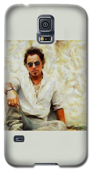 Galaxy S5 Case featuring the painting Bruce Springsteen by Elizabeth Coats